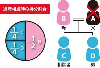 遺産相続時の持分割合(母B1/2、相談者C1/4、弟D1/4で配分)の図|